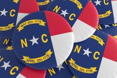 Botões do estado de E.U.: Pilha da ilustração norte de Carolina Flag Badges 3d ilustração do vetor