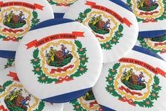 Botões do estado de E.U.: Pilha da ilustração ocidental de Virginia Flag Badges 3d ilustração stock