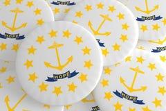 Botões do estado de E.U.: Pilha da ilustração de Rhode Island Flag Badges 3d ilustração do vetor