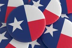 Botões do estado de E.U.: Pilha da ilustração de Texas Flag Badges 3d ilustração royalty free
