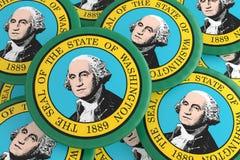 Botões do estado de E.U.: Pilha da ilustração de Washington Flag Badges 3d ilustração royalty free
