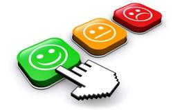 Botões do feedback da avaliação da qualidade do cliente ilustração stock