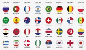 Botões do futebol com projeto da bandeira de equipes de futebol diferentes Foto de Stock