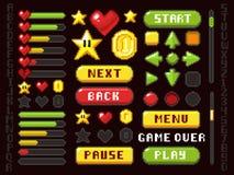 Botões do jogo do pixel, elementos da navegação e da notação e grupo do vetor dos símbolos ilustração stock