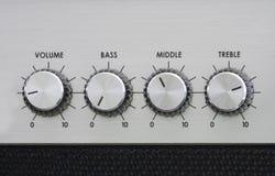 Botões do misturador de um amplificador imagem de stock
