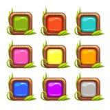 Botões do quadrado do vetor dos desenhos animados ajustados ilustração royalty free