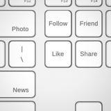 Botões do teclado com serviços sociais dos trabalhos em rede Imagem de Stock Royalty Free