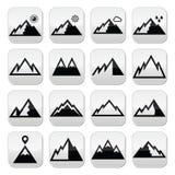 Botões do vetor das montanhas ajustados Imagens de Stock Royalty Free