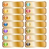 Botões dourados com as esferas lustrosas coloridas ilustração royalty free