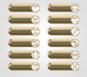 Botões dourados com os sinais astrológicos do zodíaco Fotos de Stock Royalty Free