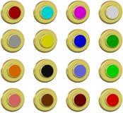 Botões dourados da coleção, 2d Imagem de Stock Royalty Free
