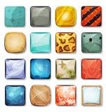 Botões e ícones ajustados para App e o jogo móveis Ui Imagem de Stock Royalty Free