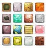 Botões e ícones ajustados para App e o jogo móveis Ui Fotos de Stock Royalty Free