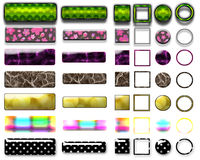 Botões e ícones coloridos diferentes para o design web imagens de stock royalty free