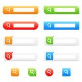 Botões e ícones da busca fotografia de stock