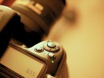 Botões e controles macro da câmera de DSLR fotos de stock