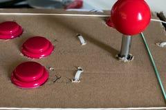 Botões e manche para o caso retro do jogo DIY Fotografia de Stock Royalty Free