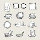 Botões esboçados e Thumblers Imagens de Stock