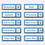 Botões lisos ajustados Foto de Stock Royalty Free