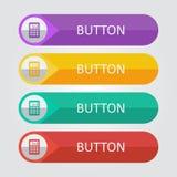 Botões lisos do vetor com ícone da calculadora Imagem de Stock Royalty Free