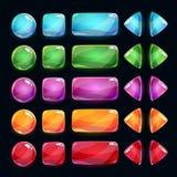 Botões lustrosos coloridos ajustados no fundo escuro Fotos de Stock Royalty Free