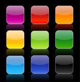 Botões lustrosos do ícone com reflexão Fotografia de Stock Royalty Free