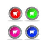 Botões lustrosos do carrinho de compras Fotos de Stock Royalty Free