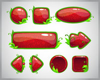 Botões lustrosos vermelhos dos desenhos animados com elementos da natureza Fotos de Stock