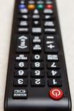 Botões no controlo a distância para a televisão Foto de Stock