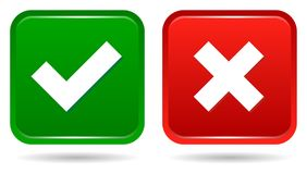 Botões quadrados da Web do tiquetaque e da cruz ilustração do vetor