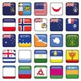 Botões quadrados das bandeiras do Antarctic e do russo Fotografia de Stock