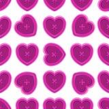 Botões que costuram teste padrão sem emenda ajustado da silhueta com vinta dos corações Fotos de Stock Royalty Free
