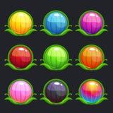 Botões redondos coloridos dos desenhos animados engraçados Imagem de Stock