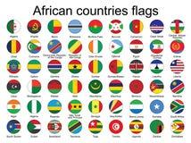 Botões redondos com as bandeiras de África Imagens de Stock