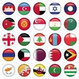 Botões redondos das bandeiras asiáticas Imagens de Stock Royalty Free