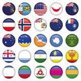 Botões redondos das bandeiras do Antarctic e do russo Fotos de Stock