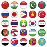 Botões redondos das bandeiras do Antarctic e do russo Imagem de Stock Royalty Free