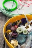 Botões retros e zíper Fotografia de Stock Royalty Free
