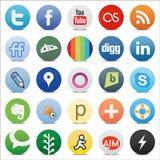 Botões sociais dos meios Fotografia de Stock Royalty Free