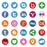Botões sociais dos meios