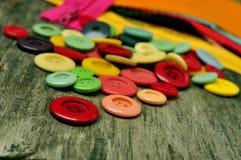 Botões, tela e zíperes Fotografia de Stock Royalty Free