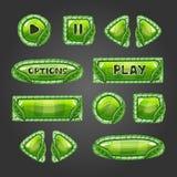 Botões verdes dos desenhos animados com folhas Imagens de Stock