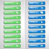 Botões verdes e azuis para o Web site ou o app Botão - a compra agora, subscreve, assina acima, registra-se, transfere-se, transf Imagens de Stock Royalty Free