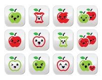 Botões vermelhos bonitos do kawaii da maçã e da maçã do verde ajustados ilustração do vetor