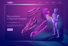 Bot Assistant in Big Data Analysis. Vector. Bot Assistant in Big Data Analysis Concept. Data Search Robot. Bot Virtual Assistance. Digital Technology and stock illustration