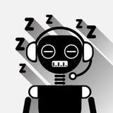 Bot cansado do bate-papo do preto do conceito do ícone do sono de Chatbot ou serviço de Chatterbot da tecnologia em linha do apoi Imagens de Stock