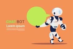 Bot de la charla, elemento virtual de la ayuda de los robots del sitio web o aplicaciones móviles, concepto de la inteligencia ar Imagen de archivo