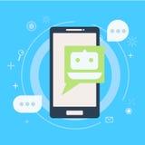 Bot de la charla en el teléfono Imágenes de archivo libres de regalías
