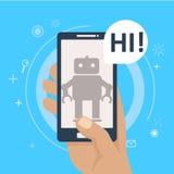 Bot de la charla en el teléfono a disposición Imágenes de archivo libres de regalías