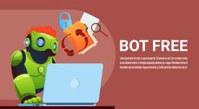 Bot de la charla usando el ordenador portátil, ayuda virtual del robot del sitio web o aplicaciones móviles, inteligencia artific Fotografía de archivo libre de regalías